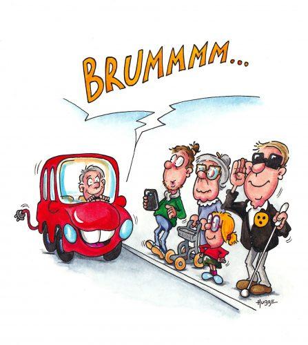 Illustration eines Elektrofahrzeugs, das Geräusche abgingt, so dass die an der Straße stehenden Menschen (Handybenutzer, Seniorin mit Rollator, Kind und Blinde Person) dieses wahrnehmen können. Illustration: DBSV/Phil Hubbe